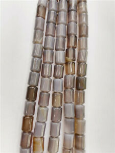 1 Strand 14x10mm Natural Gray Agate Cylinder Spacer Loose Beads 15.5inch BB3439