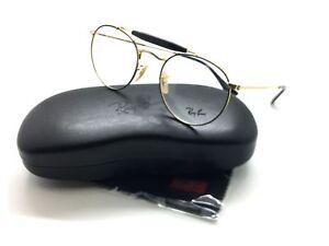 Ray Ban Round Metal Gold eyeglasses Top Black demo lenses RB 3747 V 2946 47MM