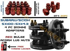 Complete Set of 5x100 Converts To 5x4.5 Wheel Spacer 20 Red Acorn Lug Nuts