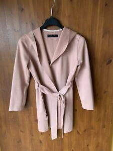 ZARA WRAP JACKET Pink Faux Suede Shawl Collar Hooded Belted XS / UK 8-10-12 VGC