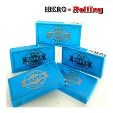 5 libritos papel de fumar RASTA azul 300, papel fino corto de 70mm