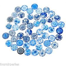 10 Mixte Cabochons Verre Bleu et Blanc Multicolore Ronde Pour Support 12mm