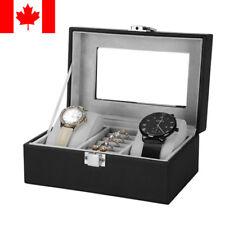 Sortwise® Watch Box  Black PU Leather Watch Storage Case Vintage Style 3 Grid