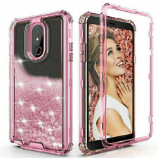 For Lg K40/Xpression Plus 2/Solo Hard Clear Glitter Flowi 00006000 ng Liquid Bling Case