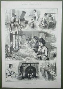 Valentines Day Factory Manufacture of Valentines Original Antique Print 1874