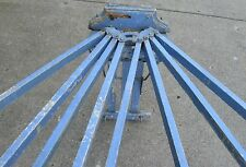 ANTIQUE 8 SPINDLE WOODEN WALL MOUNT DRYING RACK W/OLD BLUE CHIPPY PAINT