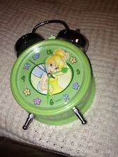Disney Tinker Bell Mint Green Old Fashion bell Alarm Clock Pre-Owned C Battery