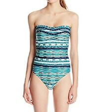 Jessica Simpson One Piece Sz XL Navy Multi Color Swimsuit Low Back SSDI15822