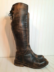 Bed Stu Manchester Sz 9 Women's Knee Boots Leather Lace Up Distressed Bench Made