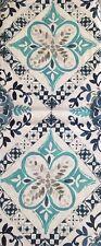 ENVOGUE FabricShower Curtain Cotton Diamond Shaped Medallion Turquoise,blue,gray