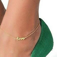 "LADY Gold "" Love "" Letter Foot Chain Ankle Bracelet Charm Anklet Sandal Party"