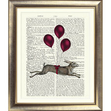 ART PRINT ORIGINAL ANTIQUE BOOK PAGE Dictionary Vintage HARE BALLOON Rabbit Old