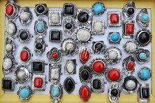 Wholesale 10pcs big natural turquoise gemstone Tibet tribe silver tone ring FREE