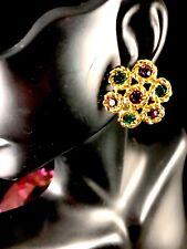 Multicolor Rhinestone Pierced Earrings Perfect Winter Holiday Swarovski Swan