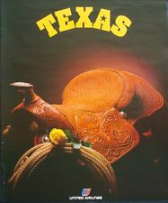 UNITED AIRLINES TEXAS 1978 Vintage Travel poster 22x28