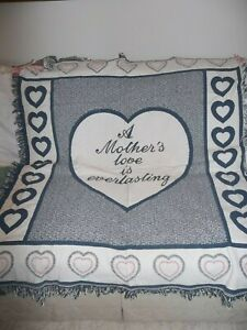 """Tapestry Cotton Throw """"A Mother's Love is Everlasting"""" 1995 Spain blue pink whit"""