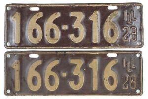 Vintage 1928 License Plate Pair Model A Cruise Night Garage Man Cave Den Gift