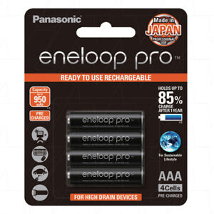Panasonic Eneloop Pro - AAA NiMH Rechargeable Batteries x 4 - Made in Japan
