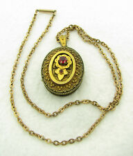 Antique Victorian Gold Filled Red Stone Photo Locket Etruscan Pendant Necklace