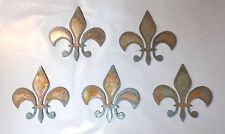Bulk Lot of 50 Fleur De Lis 3 In Rusty Metal Vintage Stencil Ornament Craft Sign
