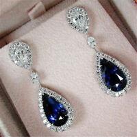 Women 925 Silver Sapphire Gems Dangle Drop Hoop Earrings Wedding Jewelry Gift