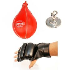 BOXING SPEEDBALL w/ FINGERLESS GLOVES & SWIVEL MMA Punching Bag Speed Ball Set