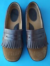 Born Shoes 8.5 40 M Women's Loafers Flats Brown Leather Suede Kiltie Fringe