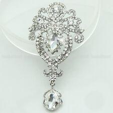 Wedding Water Drop Flower Brooch Clear Rhinestone Crystal Diamante Pin Bouquet