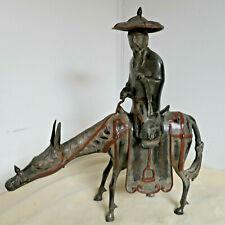 Antique Bronze MAN PEASANT FARMER ON DONKEY Statue Japanese  #108