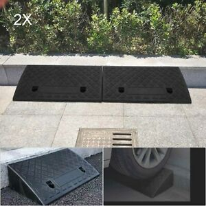 Heavy duty plastic curb door ramp scooter wheelchair disabled access 2piece set
