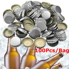 100Pcs Beer Bottle Caps PE Lined Soda Crown Cap Unused Bag (No Dents)