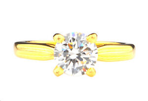 14KT Solid Yellow Gold / D/VVS1 Round Shape 2.75 Carat Solitaire Engagement Ring