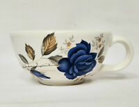 McCoy Pottery Off White Floral Soup Bowl With Handle Blue Rose