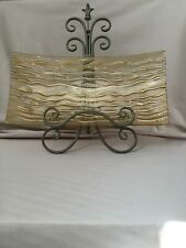"""18""""x9"""" Decorative, Rectangular Glass Plate, Gold Color with wave lines."""