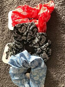 Coloured hair scrunchie paisley fabric elastic bobble band bun red black blue