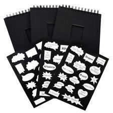 ewtshop® 3er-Set Schwarze Fotoalben + 51 Sticker, Spiralbindung, 22 x 17 cm