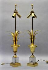 PAIR mid century 1960 PALM tree Leaves lamp crystal glass lamps maison jansen