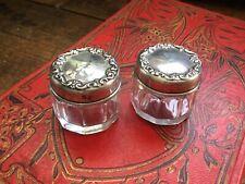 Antique Vintage Art Nouveau Pair of Sterling Top Dresser~vanity~powder Jars