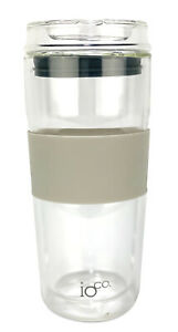 IOco 16oz All Glass Coffee Tea Cup Mug.Travel Reuse & Keep it -Latte|Midnight