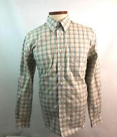 Eddie Bauer Large Men's Shirt Brown/Blue Button Down Plaid Cotton Long Sleeve