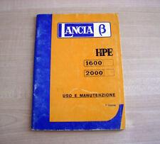 Lancia Beta HPE 1600 2000 Libretto Uso e Manutenzione 1976 Italiano