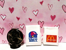 Dollhouse Miniature Take Out Bags - Many Different Junk Food Restaurants 1:12