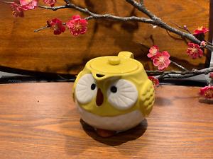 Japanese Lucky Owl Tea Pot Yellow  Made in Japan