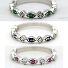Natural Emerald/Ruby/Sapphire Stackable Eternity Band Ring 925 Sterling Silver