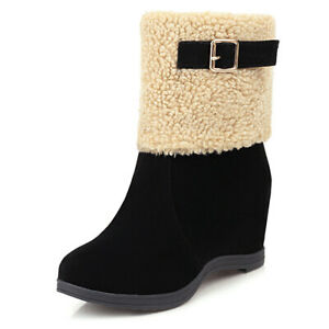 Womens Slip On Pointed Toe Plush Warm Winter Booties Wedge Heeled Ankle Boots