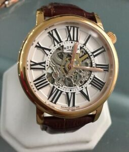 Men's Genuine Rotary Automatic  Skeleton Gold Brown Leather Roman White Watch