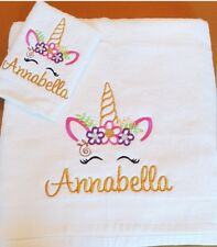 Personalised Unicorn Bath Sheet Towel with flannel Embroidered Gift