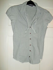 DOROTHY PERKINS 14 FRILL TOP BLOUSE STRIPE GREY BLACK WHITE  COLLAR COTTON