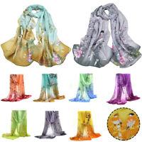 Women Long Thin Chiffon Scarves Soft Silk Wrap Shawl Scarf 160cm x 50cm