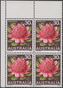 1968 30c Flower Waratah second cylinder top left corner block of 4, mnh